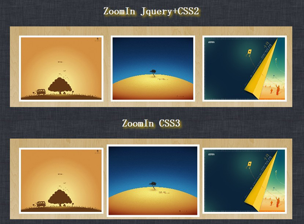jQuery simulated CSS3 picture enlargement comparison Effects