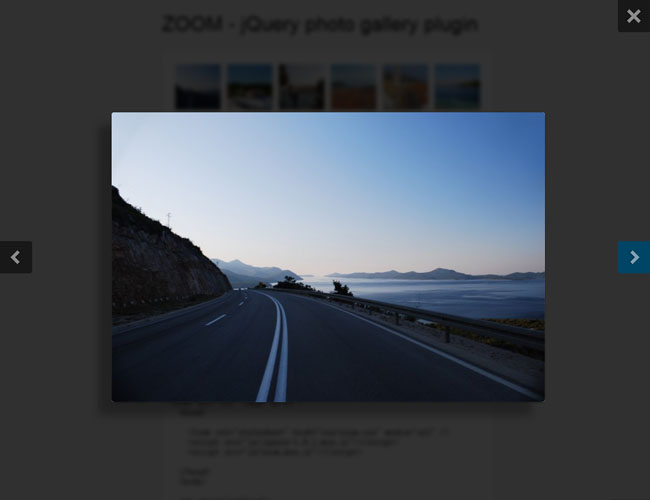 jQuery zoom album pop-up layer plugin Effects