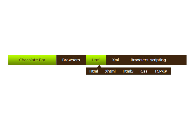 jQuery chocolate secondary navigation Effects