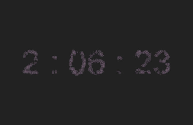 HTML5 Canvas particle digital clock Effects