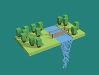 Canvas forest waterfall animation