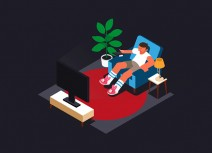 HTML5 SVG watching TV scene animation