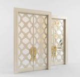 White transparent carved double door model